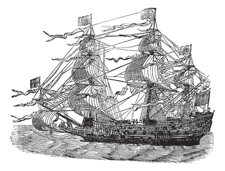 sovereign: HMS Sovereign of the Seas, vintage engraved illustration