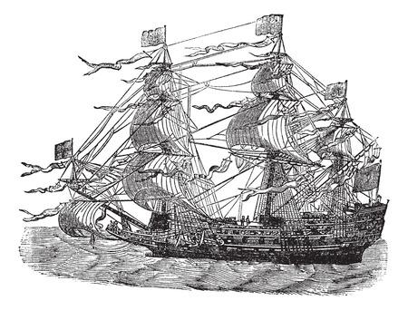 sovereign: HMS Sovereign of the Seas, vintage engraved illustration