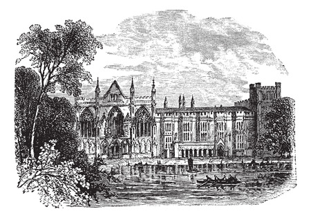 priory: Newstead Abbey in Nottinghamshire, England, UK, vintage engraved illustration