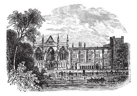 abbey: Newstead Abbey in Nottinghamshire, England, UK, vintage engraved illustration