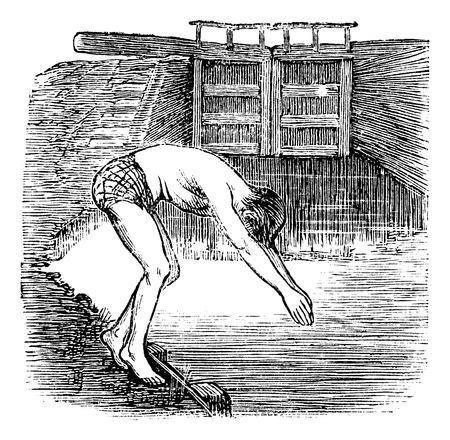 Position Before Diving, vintage engraved illustration Vector