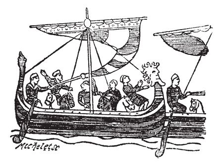 tapestry: Norman Ship from the Bayeux Tapestry, vintage engraved illustration