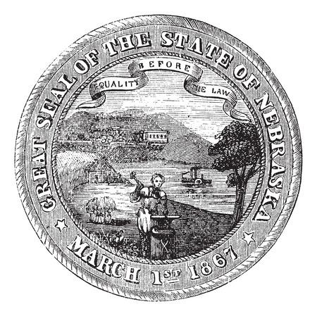 credentials: Seal of the State of Nebraska, vintage engraved illustration. Trousset encyclopedia (1886 - 1891). Illustration
