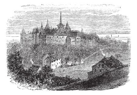 chateau: Chateau du Val-Boury in Neufchatel-en-Bray, France, vintage engraved illustration Illustration