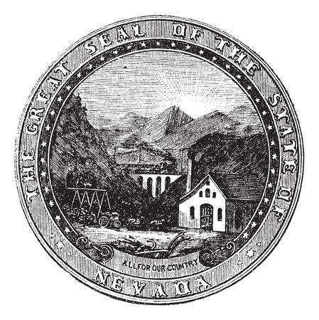 credentials: Seal of the State of Nevada, vintage engraved illustration Illustration