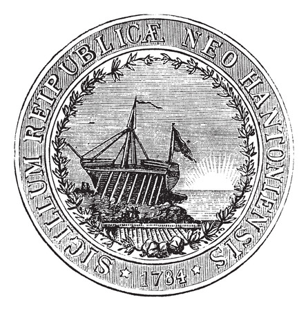 credentials: Seal of the State of New Hampshire, vintage engraved illustration