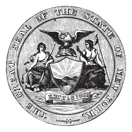 credentials: Seal of the State of New York, vintage engraved illustration. Trousset encyclopedia (1886 - 1891). Illustration