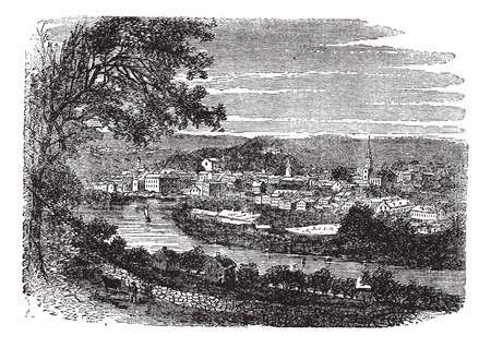 Norwich in Connecticut, USA, vintage engraved illustration