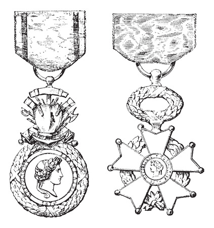 Military Medal, Cross of the Legion of Honor, vintage engraved illustration