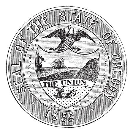 Seal of the State of Oregon, vintage engraved illustration Vector