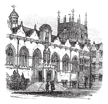 oxford: Old engraved illustration of University of Oxford.