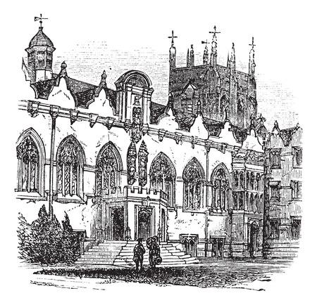 Old engraved illustration of University of Oxford.