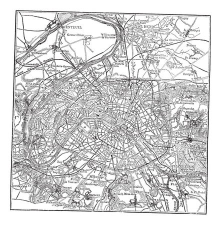 roadmap: Old engraved illustration of Paris map with its environs.
