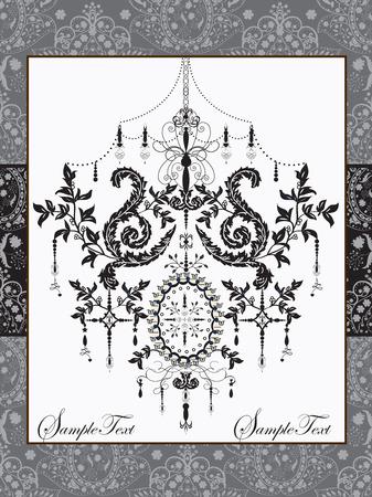 royal frame: Vintage invitation card with ornate elegant abstract floral design, black and gray with frame. Vector illustration. Illustration