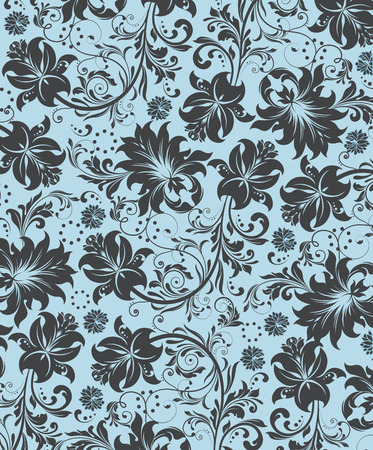 floral decoration: Vintage background with ornate elegant abstract floral design, gray flowers on light blue. Vector illustration.