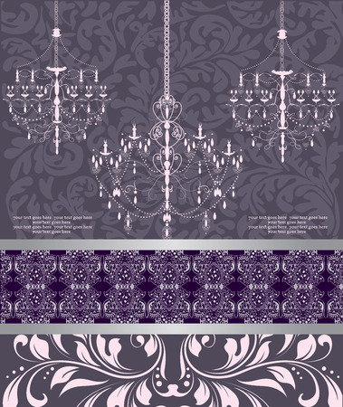 Vintage invitation card with ornate elegant abstract floral design, purple on gray with chandeliers and ribbon. Vector illustration. Illustration