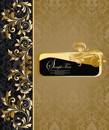 華やかなエレガントな抽象花柄、グレー、黒にゴールド ヴィンテージ背景。ベクトルの図。