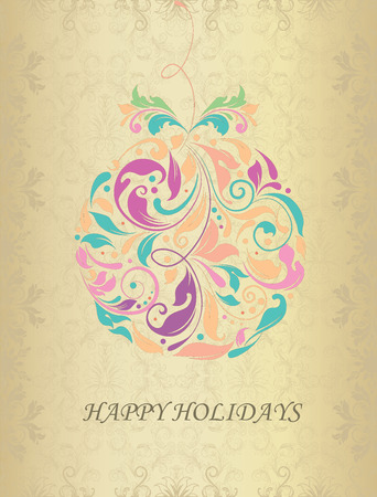 Vintage Christmas card with ornate elegant abstract floral design, Christmas ball on shiny gold. Vector illustration. Illustration