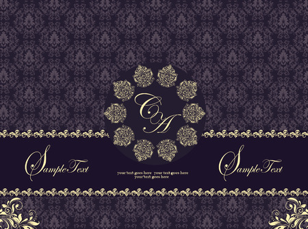 Vintage invitation card with ornate elegant abstract floral design, gold and purple flowers with ribbon and circular arrangement. Vector illustration.