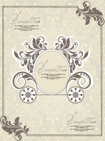royal wedding: Vintage invitation card with ornate elegant abstract floral design, gray and pale yellow with carriage and border. Vector illustration.