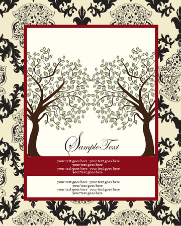 yellow vector: Vintage invitation card with ornate elegant abstract floral tree design, green brown and black flowers and leaves on pale yellow background with red frame. Vector illustration.