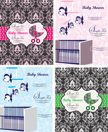Set of four (4) vintage baby shower invitation cards with ornate elegant retro abstract floral design, baby carriage, crib, fish mobile and polka dot ribbons. Vector illustration. Vector