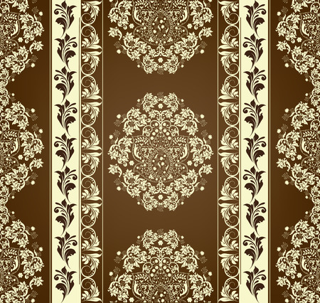 pale yellow: Vintage background with ornate elegant abstract floral design, brown and pale yellow flowers. Vector illustration.