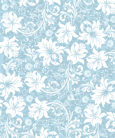 Vintage background with ornate elegant abstract floral design, white flowers on light blue. Vector illustration.