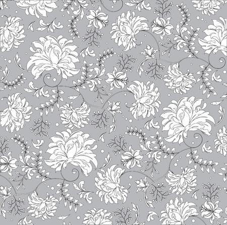 ヴィンテージ背景灰色の華やかなエレガントな抽象花柄、白い花。ベクトルの図。