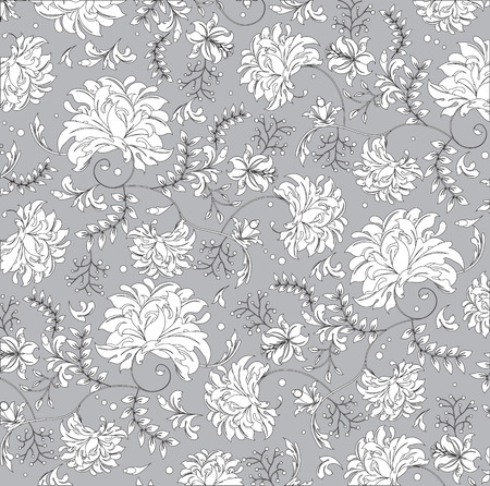 Vintage background with ornate elegant abstract floral design, white flowers on gray. Vector illustration. Vettoriali