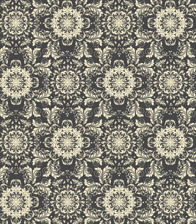 Vintage background with ornate elegant abstract floral design, pale yellow flowers on black background. Vector illustration. Vector