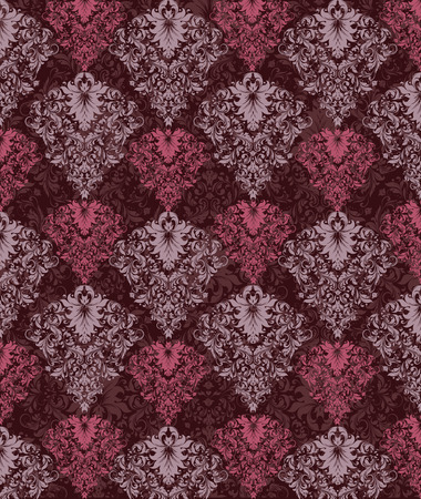 raspberry pink: Vintage background with ornate elegant abstract floral design, rose quartz and raspberry rose pink flowers on brownish red background. Vector illustration.