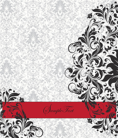 Vintage invitation card with ornate elegant abstract floral design, black flowers on gray and white background with red ribbon. Vector illustration. Illustration