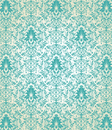 Vintage background with ornate elegant abstract floral design, aquamarine flowers on pale yellow background. Vector illustration.