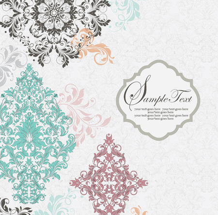 Vintage invitation card with ornate elegant abstract floral design, multi-colored flowers on light gray. Vector illustration.