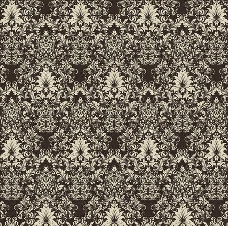 плоть: Урожай фон с богато элегантный абстрактного цветочный дизайн, флэш цветы на темном фоне коричневый. Векторная иллюстрация. Иллюстрация