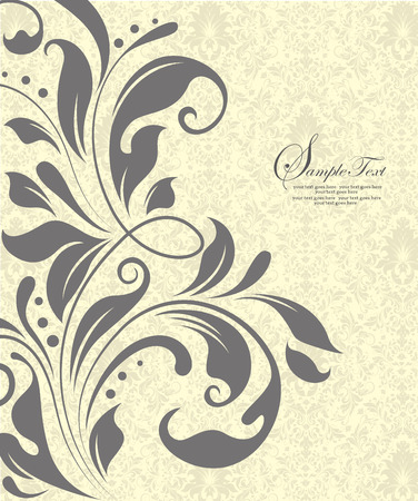 fancy border: Vintage invitation card with ornate elegant abstract floral design, gray flowers on light gray and pale yellow background. Vector illustration.