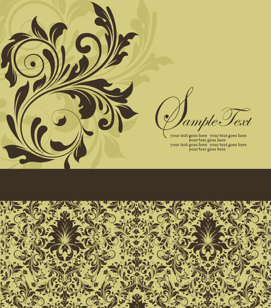 brownish: Vintage invitation card with ornate elegant abstract floral design, brown flowers on brownish yellow with ribbon. Vector illustration. Illustration
