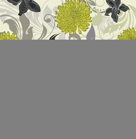pale yellow: Vintage background with ornate elegant retro abstract floral design, yellow green gray and black flowers on pale yellow and green background. Vector illustration.