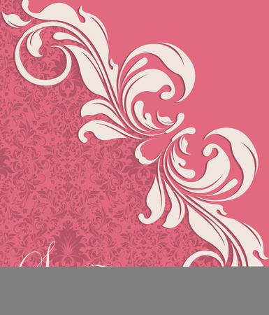 raspberry pink: Vintage invitation card with ornate elegant abstract floral design, white and raspberry rose flowers on candy pink background. Vector illustration.
