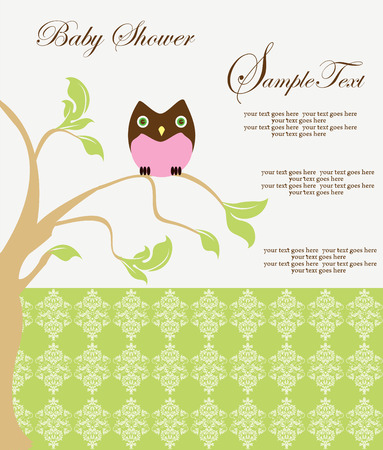 pale green: Vintage baby shower invitation card with ornate elegant retro abstract floral design, tree with brown and pink owl on yellow green and pale green background. Vector illustration.