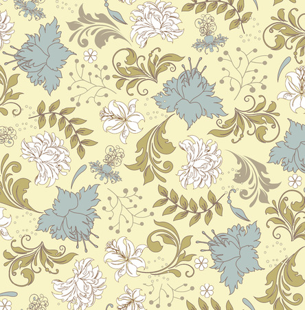 Vintage background with ornate elegant retro abstract floral design, multi-colored flowers on pale yellow background. Vector illustration. Illustration