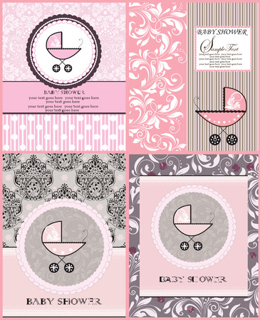 roman catholic: Set of four (4) vintage baby shower invitation cards with ornate elegant retro abstract floral design, pink with baby carriage. Vector illustration. Illustration