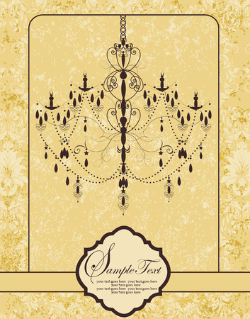 Vintage invitation card with ornate elegant abstract floral design, brown chandelier on pastel yellow background. Vector illustration.