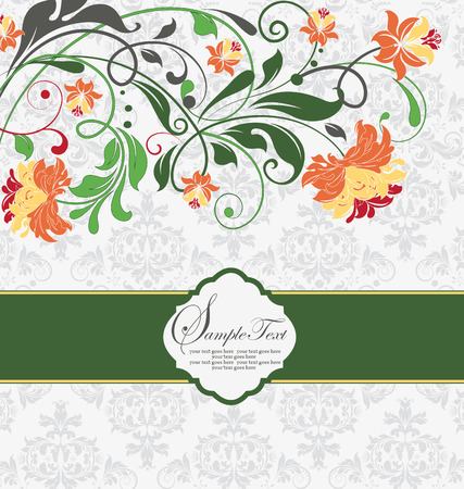 pale green: Vintage invitation card with ornate elegant abstract floral design, multi-colored flowers on pale green and white background with ribbon. Vector illustration.