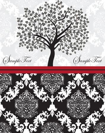 hojas de arbol: Tarjeta de invitaci�n de la vendimia con el dise�o del �rbol adornado elegante abstracto floral, blanco y negro sobre gris con cinta roja. Ilustraci�n del vector.