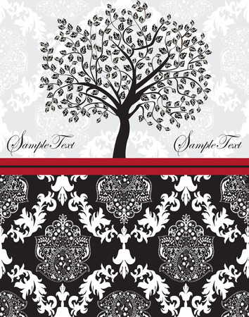 tree: Vintage invitation card with ornate elegant abstract floral tree design, black and white on gray with red ribbon. Vector illustration. Illustration