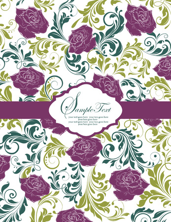 Vintage invitation card with ornate elegant retro abstract floral design, purple and green flowers on pale yellow with ribbon. Vector illustration.