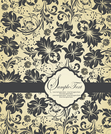 Vintage invitation card with ornate elegant abstract floral design, gray on flesh with ribbon. Vector illustration.