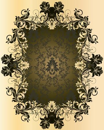 плоть: Урожай фон с богато элегантный абстрактного цветочный дизайн, оливково-зеленый и плоти. Векторная иллюстрация.